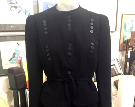 Sale Vintage Early 1940s Black Suit by Maurice L Rothschild for Brucewood