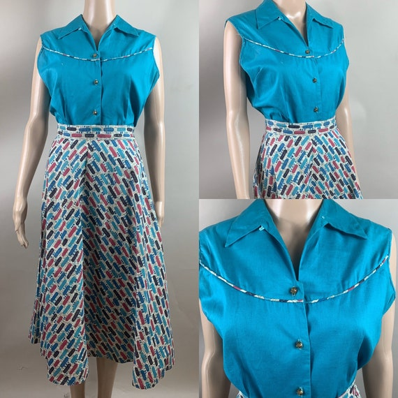 Vintage 1950s Sleeveless Blouse and Skirt Set Med
