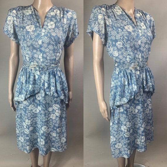 Vintage 1940s Blue and White Floral Dress Med Lg