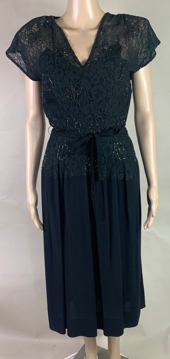 Vintage 1950s Black Crepe Beaded Lace Dress Small
