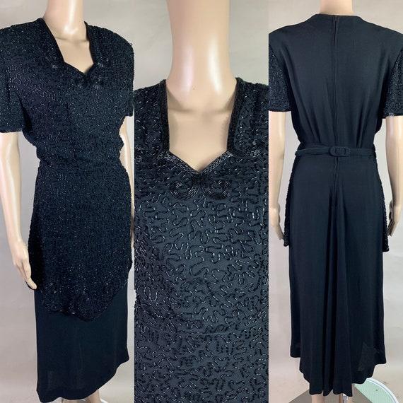 Vintage 1940s Hand Beaded Black Crepe Dress