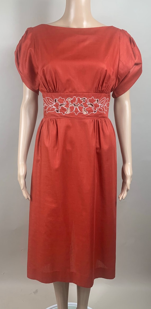 Vintage 1980s Does 1930s Cranberry Red Cutout Dress S/M