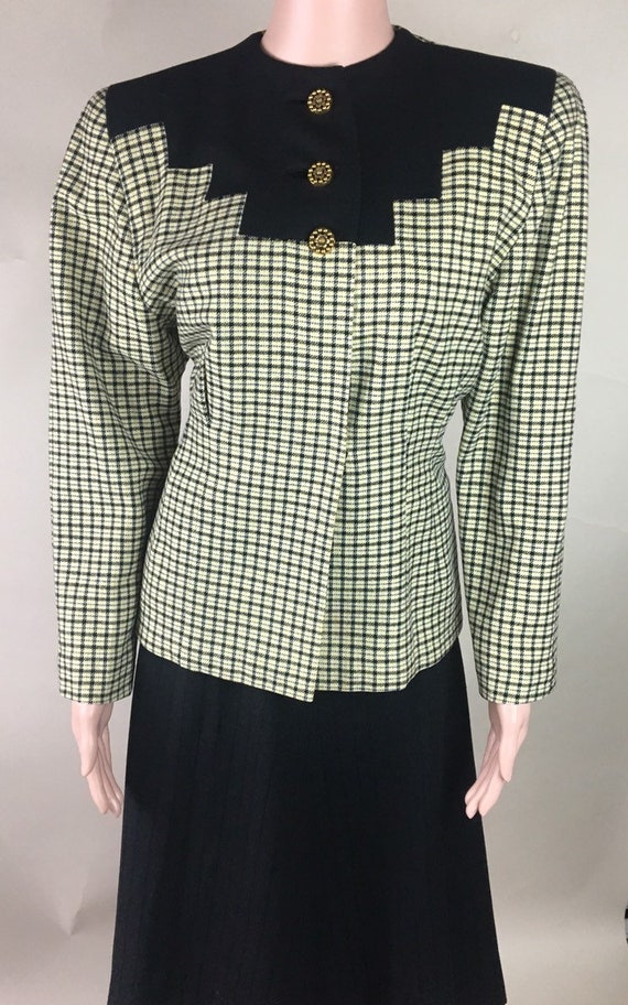 Vintage 1940s Beige, Black, Yellow and Blue Plaid Wool Jacket From Saber & Co, Washington, DC