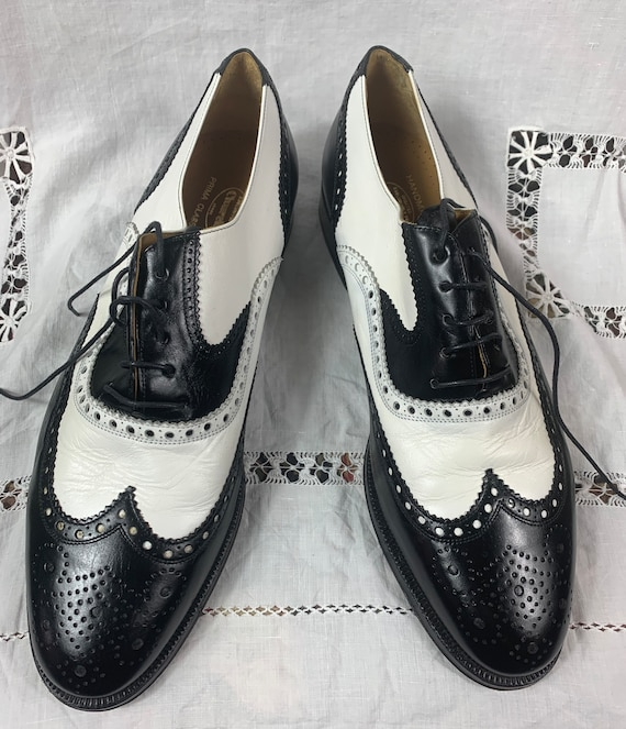 Vintage Hand Sewn Black and White Spectators from Church's England 12 m