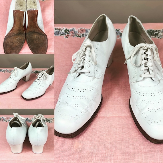 Vintage 1930s White Leather Oxfords 9.5
