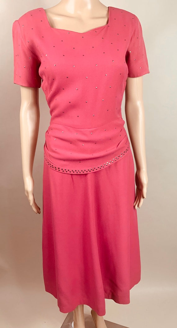 Vintage Magenta 1940s Light Wool Stud Dress Med/Lg