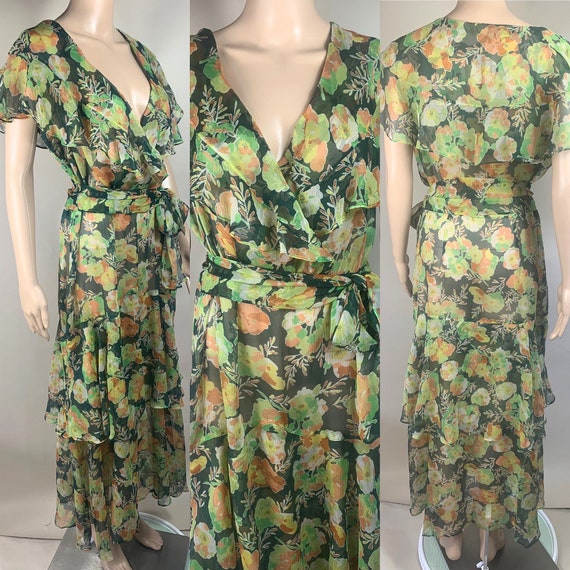 RESERVE KATHLEEN R. Vintage 1930s Pleated Chiffon Garden Gown XL!