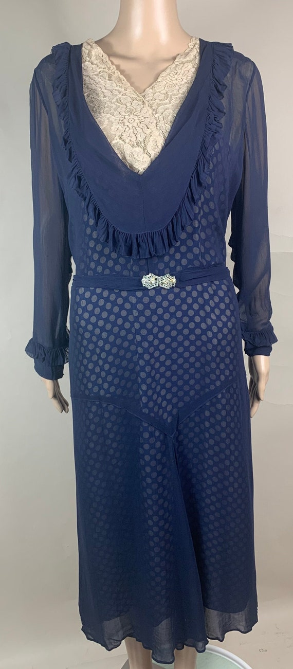 Vintage 1920s 1930s Chiffon Polka Dot Dress Lg