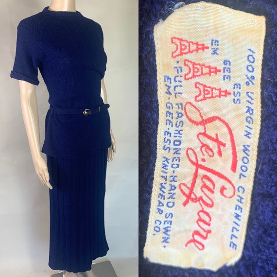 Vintage 1940s 1950s Navy Blue Sweater Skirt and Matching Top Ste Lazare