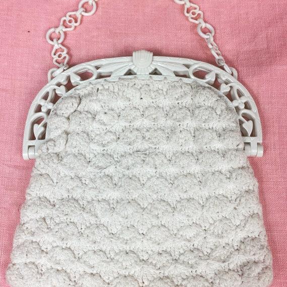 Vintage 1930s Off White Crochet Bag