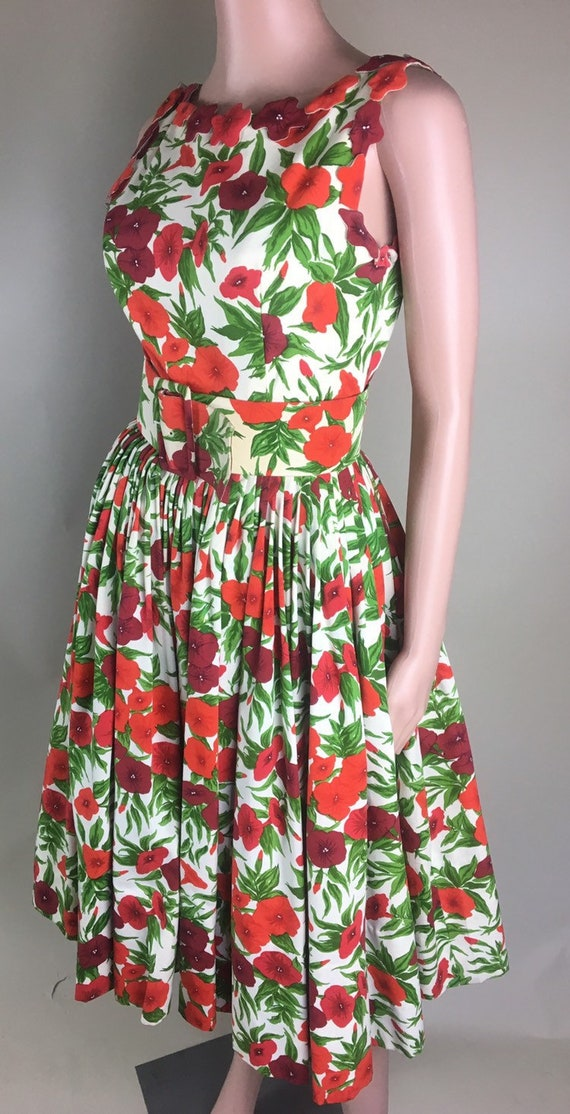 Vintage 1950s Designer Traina Norell Red Poppy Flo