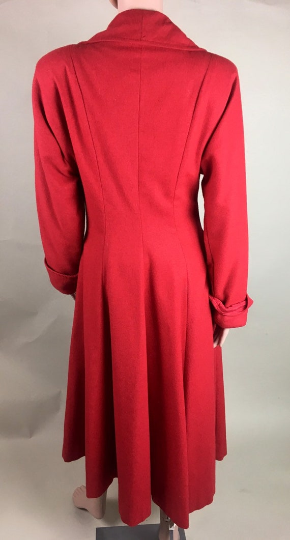 Vintage 1950s Cherry Red Lightweight Wool Princes… - image 4