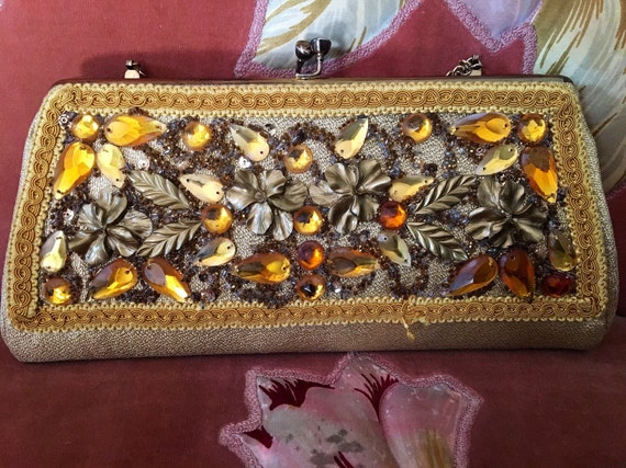 Vintage 1960's Gold and Orange Beaded Lame Clutch Purse by Caron