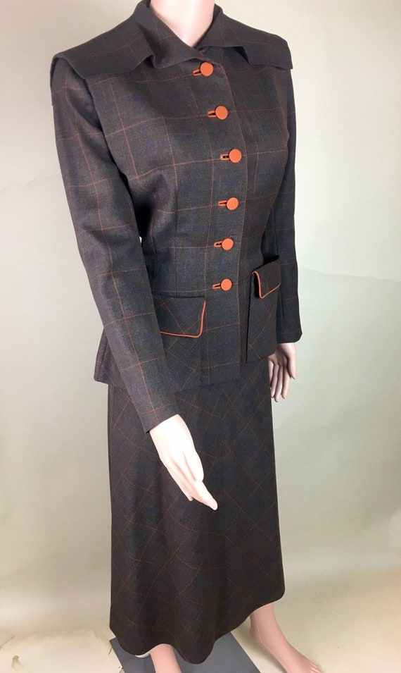 Vintage 1940s Brown, Blue, and Orange Wool Plaid Suit by Samuel Kass for Mrs Eugene Gray, Ohio