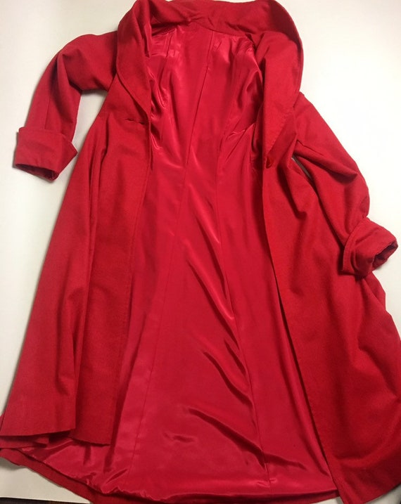 Vintage 1950s Cherry Red Lightweight Wool Princes… - image 8