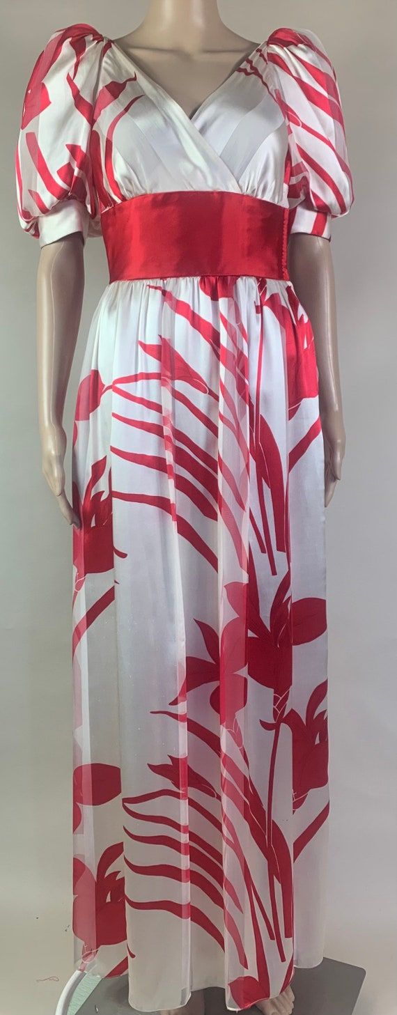 Vintage 1980s Silk Cherry Red and Creme Dress by Diane Dickinson