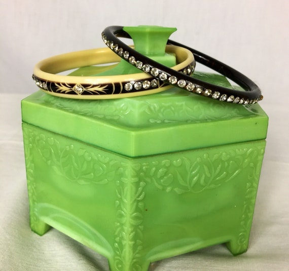 Two Vintage Celluloid Bangles w Rhinestones Black and Ivory Colored