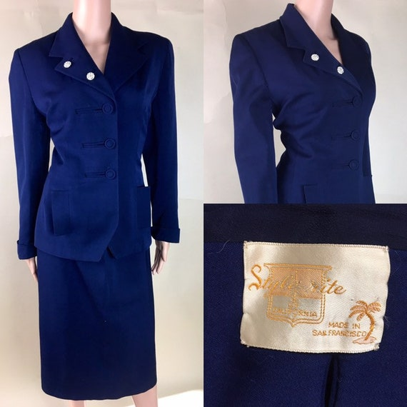 Vintage 1940s Navy Blue Gaberdine Women's Suit by Style Rite of CA
