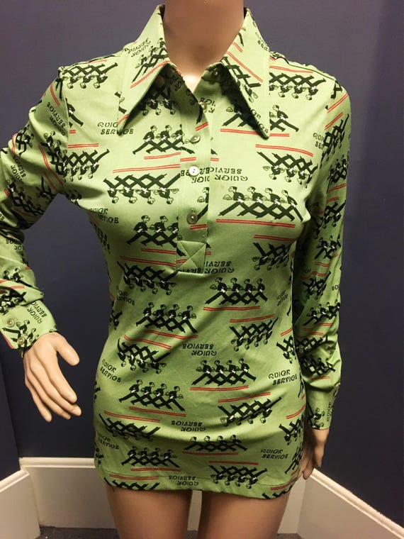 Vintage Novelty Green Nylon Waiter Polo Shirt by Tarri.