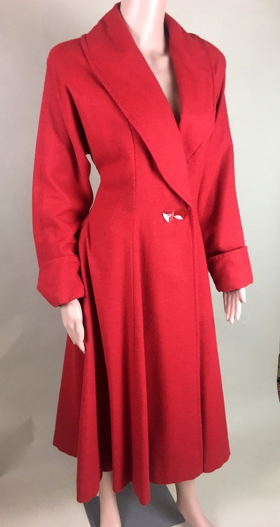 Vintage 1950s Cherry Red Lightweight Wool Princes… - image 5
