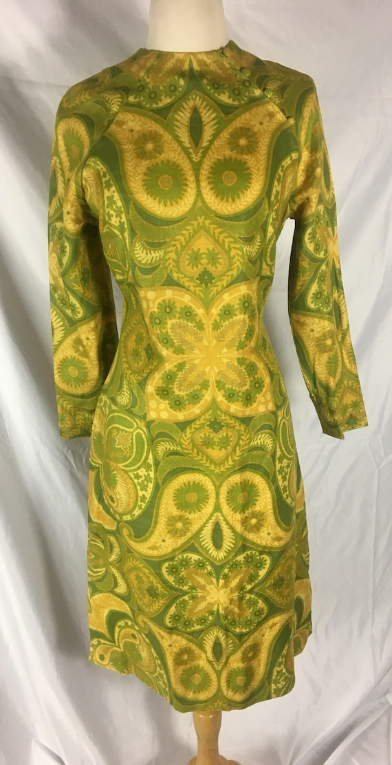 Vintage 1970s Linen Cheongsam Style Yellow and Green Dress Large