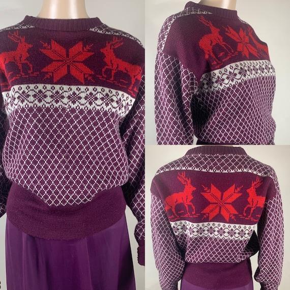 Vintage 1940s Wool Reindeer Sweater by Welgrume