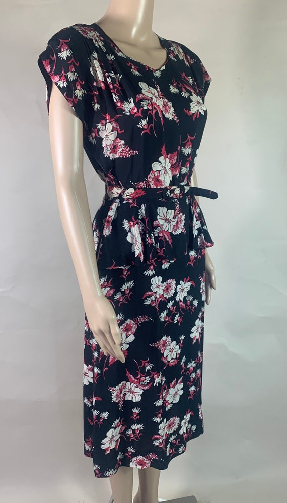 Vintage 1940s Cotton Twill Floral Dress with Belt