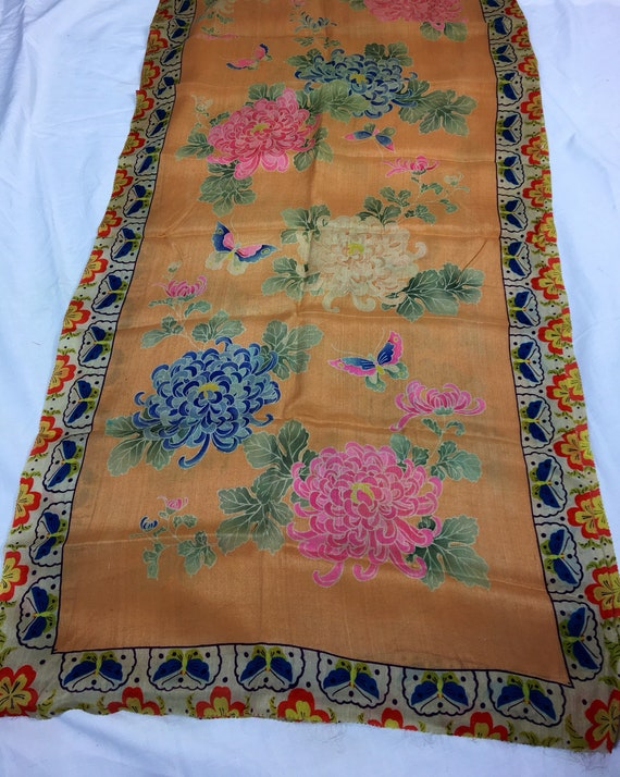 Vintage 1920s Long Asian Peach Blue Pink Green Orange Red and Beige Silk Floral Scarf w Butterfly Design