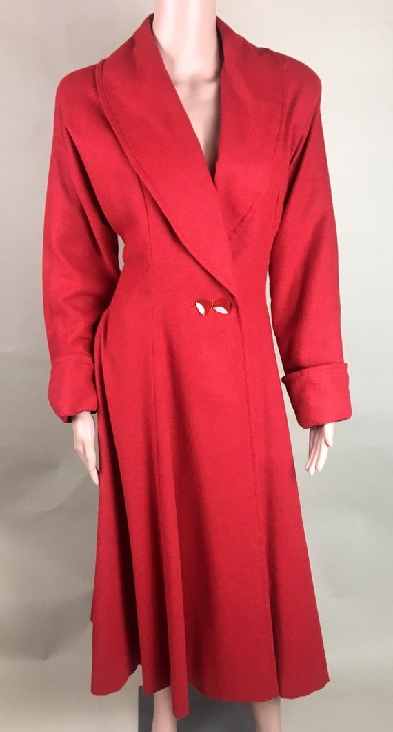 Vintage 1950s Cherry Red Lightweight Wool Princes… - image 1