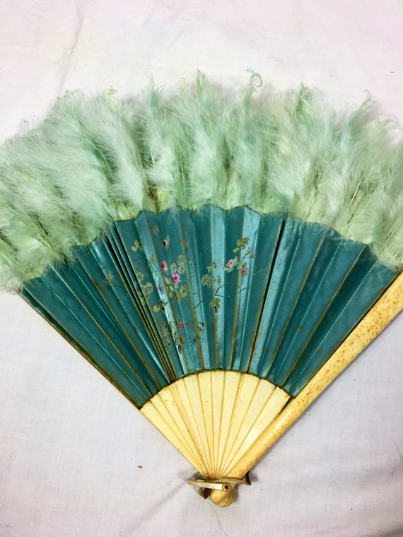 Vintage Silk Feather and Hand Painted Floral Fan