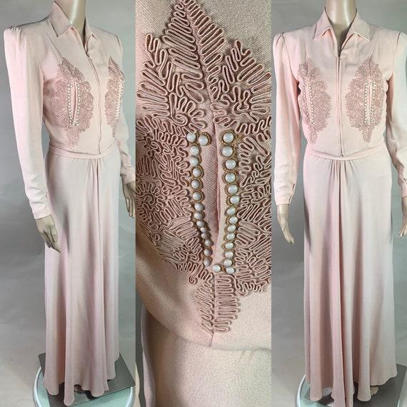 Vintage 1940s Soft Pink Long Dress and Jacket an Original Klamour Gown Label