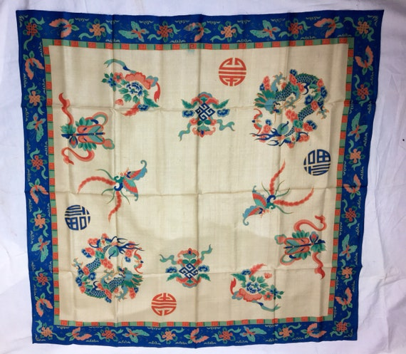 Vintage 1920s Chinese Butterfly Beige Blue Green Orange Silk Scarf