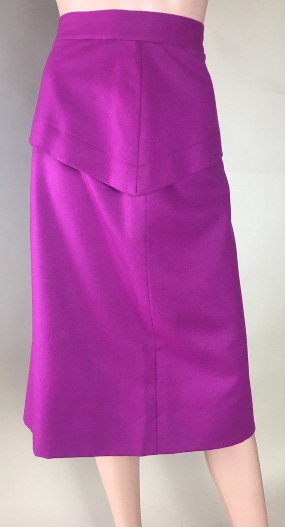 Vintage 1980s does 1940s Magenta Wool Lined Pencil Skirt with Peplum