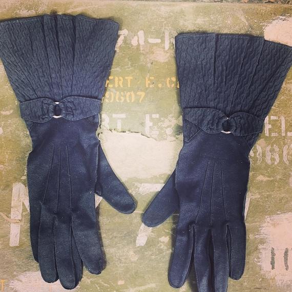 Vintage 1930s Navy Blue Driving Gloves Med/Med Lg