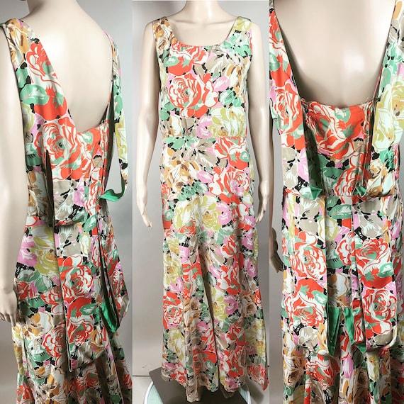 Vintage 1930s Large Floral Silk Crepe Gown