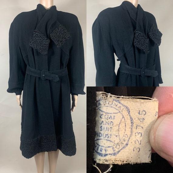 Vintage Late 1930s Black Wool Coat w Persian Lamb Trim