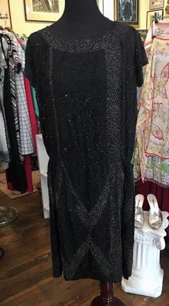 Vintage 1920s Black Silk Beaded Flapper Gatsby Dress Medium Large