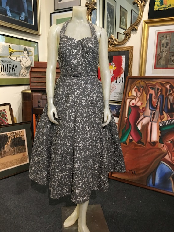 "Vintage 1950s Grey Cotton Dress Silver Soutash Alix of Miami 28"" Waist"