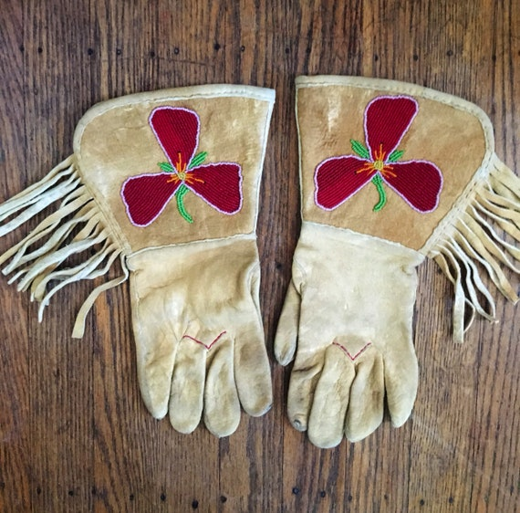 Vintage 1930s Golden Beige Hand Beaded Western Style Riding Gloves Med/Lg