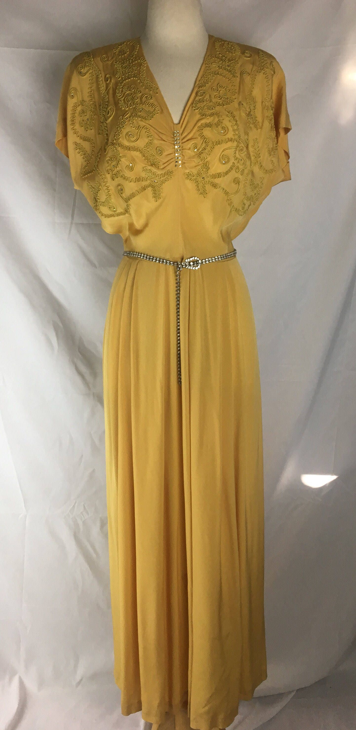 Vintage 1940s Mustard Yellow Evening Gown W Rhinestone Accents Xl 32