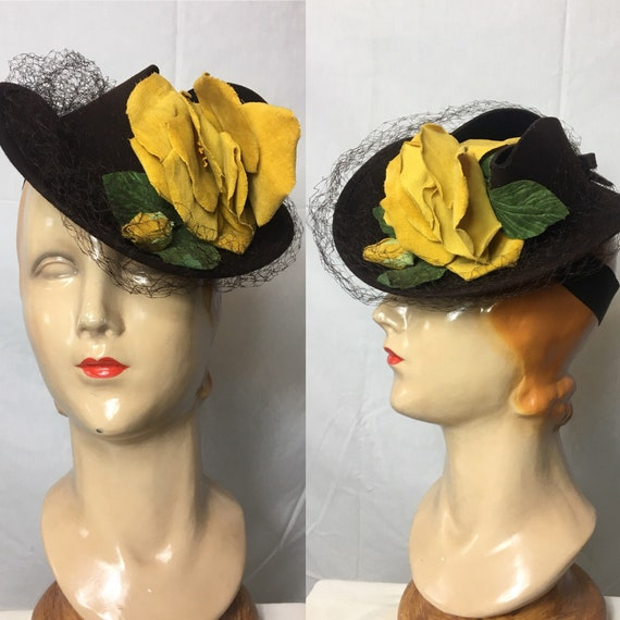 Vintage 1940s Brown Felt Hat w Yellow Flower by Henry Pollack One Size