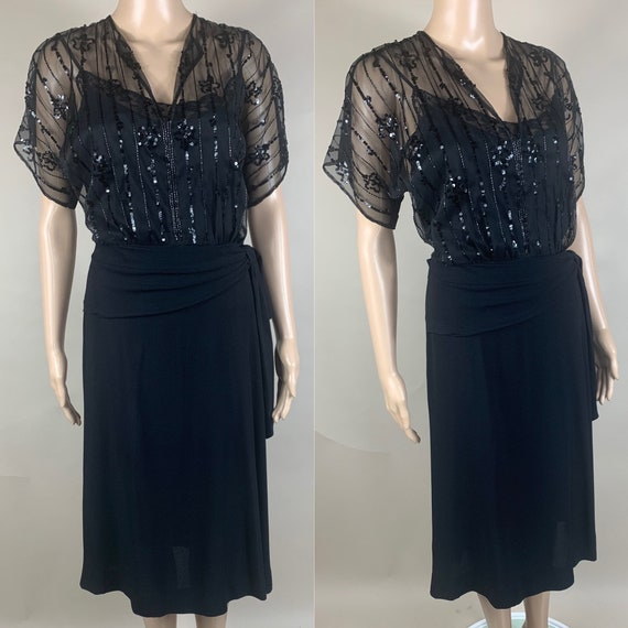 Vintage 1940s Black Crepe Dress