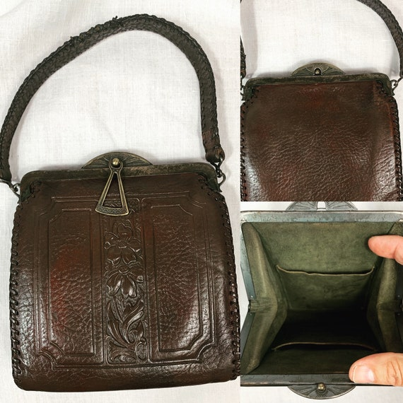Vintage 1920s Tooled Leather Sm Bag