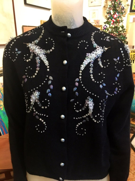Vintage 1950s Black Sequin Cashmere Sweater Size Large