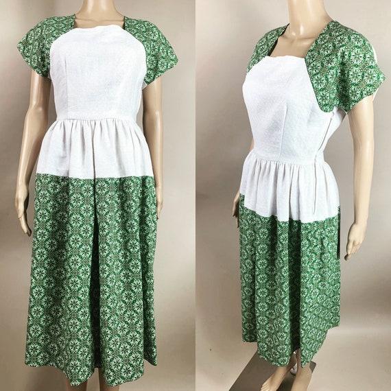 1940s Repro Dress White Green Cotton Small