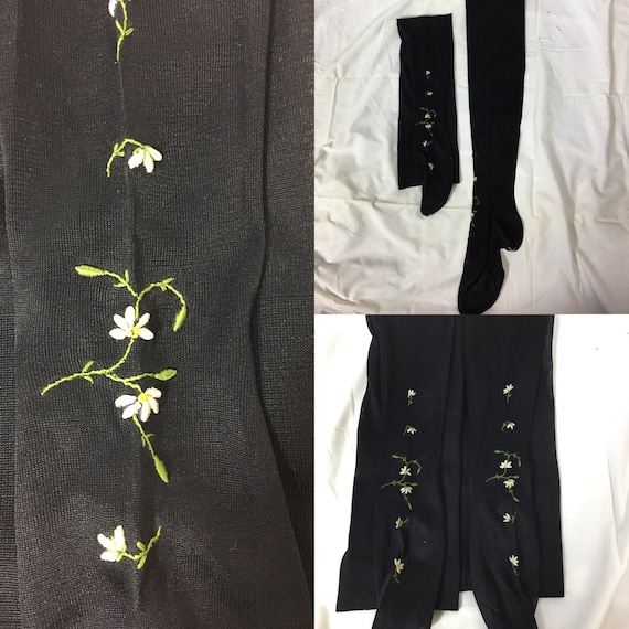 Edwardian Black Silk Seamed Leggings With Daisy Embroidery Design