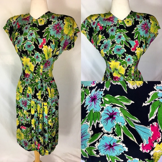 Vintage 1940s Black Turquoise  Yellow Fuschia Silk Floral Dress by Junior Guild Medium