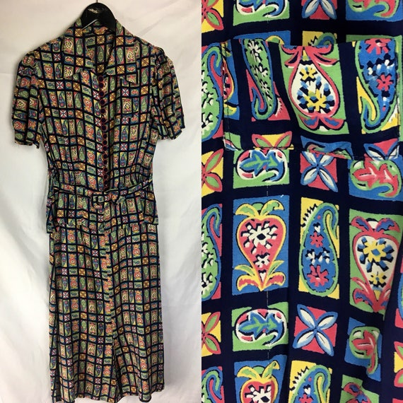 Vintage Late 1930s Early 1940s Multi Color Rayon Dress Medium