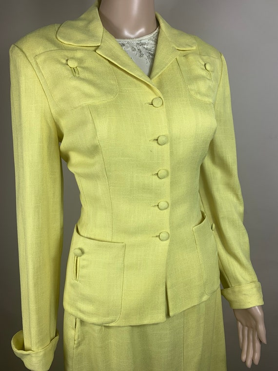 Reserve TWO for Marie 1940s House Vintage 1940s Yellow Linen Suit by Koret of CA XS