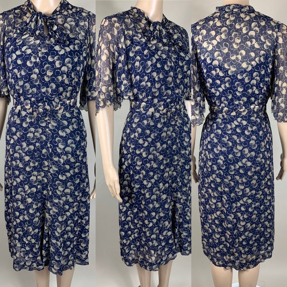 Vintage 1930s Blue Chiffon Dress